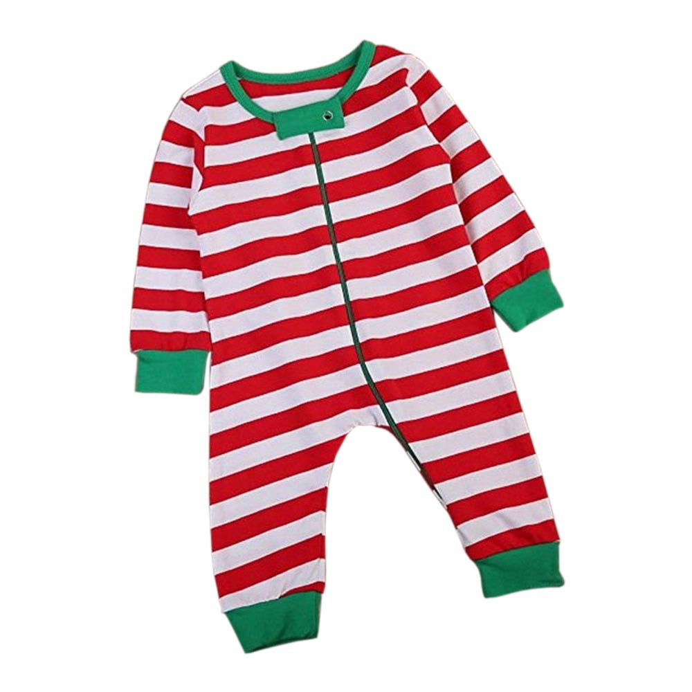 MUQGEW Newborn Baby Girl Christmas Long Sleeve Stripe Romper Jumpsuit Pajamas Outfits Roupa Infantil Menina 11.11