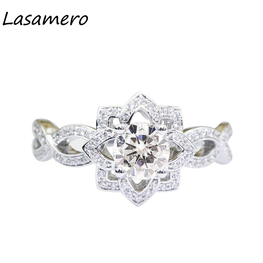 LASAMERO 1.0CT роскошные круглой огранки Имитация Алмазный Обручение кольцо стерлинговог ...