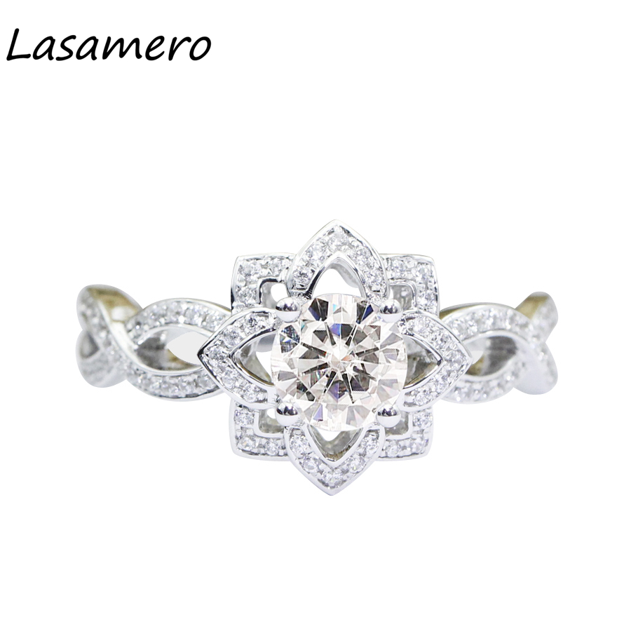 LASAMERO 1.0CT Luxury Round Cut Simulated Diamond Engagement Ring 925 Sterling Silver Fl ...