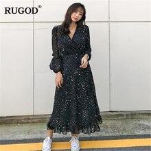 beb38ff04f RUGOD Chic étoile imprimé longue robe femmes mode col en V à manches longues  noir mousseline de soie robe 2019 printemps été gro.