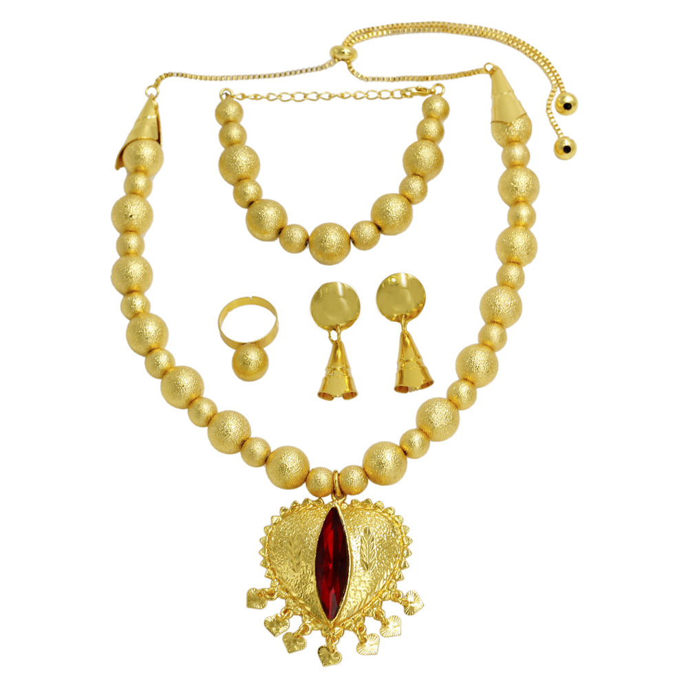 Liffly African Luxury New Gold Jewelry Sets Fashion Women Crystal Necklace Bracelet Holiday Gift Round Shape Design Accessories