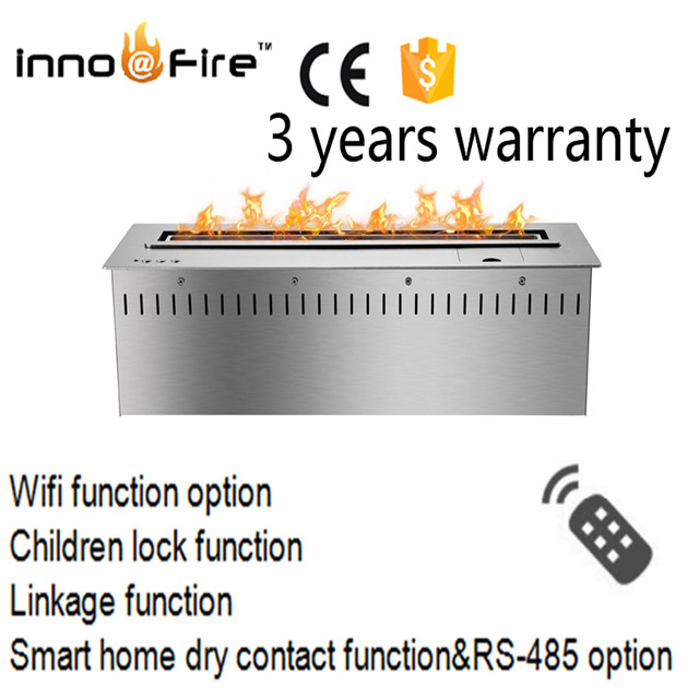 24 Inch Luxury Indoor Remote Control Intelligent Silver Or Black  Smart Ethanol Wall Fireplaces