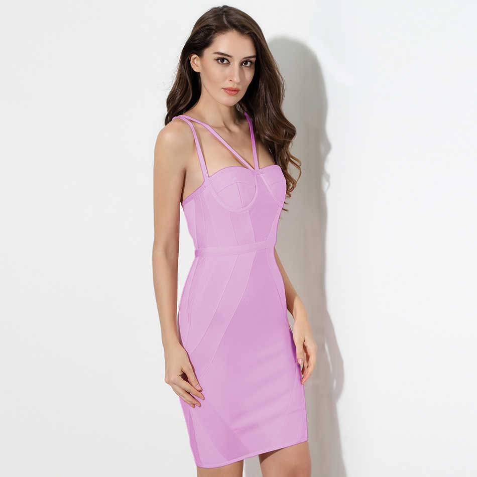 4268e5c2d0981 2018 New summer Women Party Bodycon Dress sexy pink strap Knee Length  Celebrity Chic Bandage Dress Clubwear wholesale vestidos
