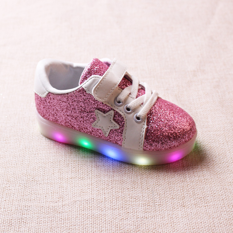 2017 New Spring and Autumn Skate Shoes LED Light Emitting Xing Xing Children Sports Shoes for Boys and Girls of White Shoes YXX