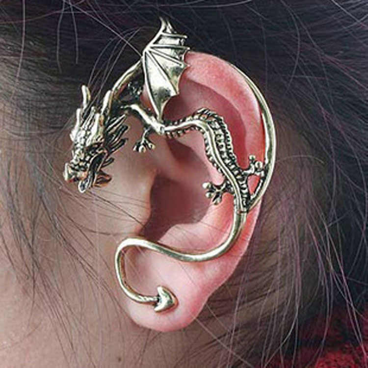 Hot Sale -Personality Complex Gothic Punk Dragon Shaped Non Pierced Ear Cuff Earrings