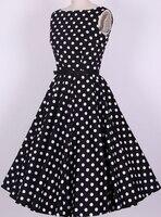 שמלות וינטג 'בבריטניה באינטרנט אירוע חתונה הכלה boho שיק אמריקאי כותנה בגדי רוקבילי פולקה דוט שחור לבן אדום