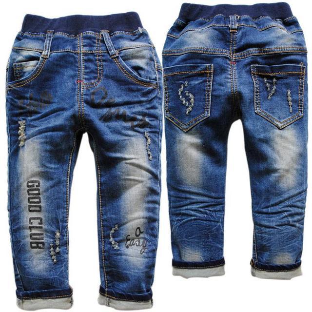 Повседневные брюки брюки девочки мальчики ребенок джинсы детские мягкие темно-синий apring осень повседневная письмо отверстие новый