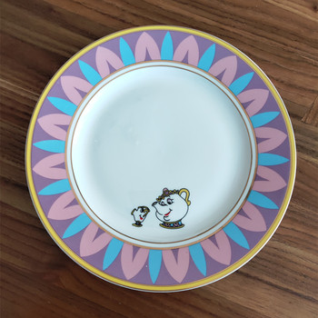 Тарелка для чая «Красавица и Чудовище», набор керамических тарелок, тарелок, чашек для чая с чипом Mrs Potts, Прекрасный фарфор, креативный Рожде...