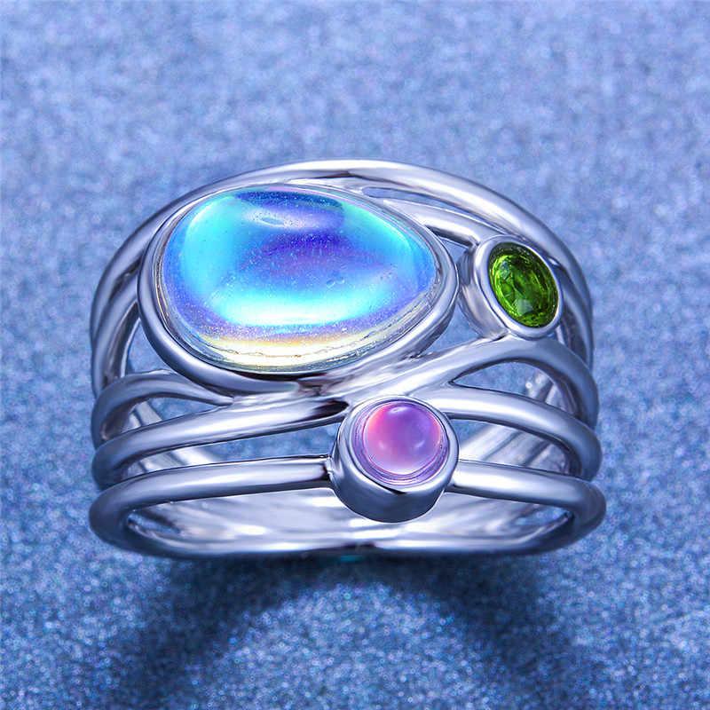 Kristall Weibliche Große Mondstein Ring Mode 925 Sterling Silber Rose Gold Hochzeit Schmuck Versprechen Liebe Engagement Ringe Für Frauen