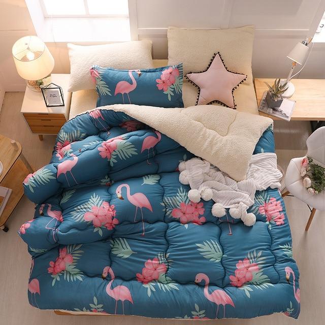 Flamingo Flannel Warm Winter Wool Quilt Thicken Comforter/ Duvet/ Blanket Lamb Down Fabric Filling Bedding Set