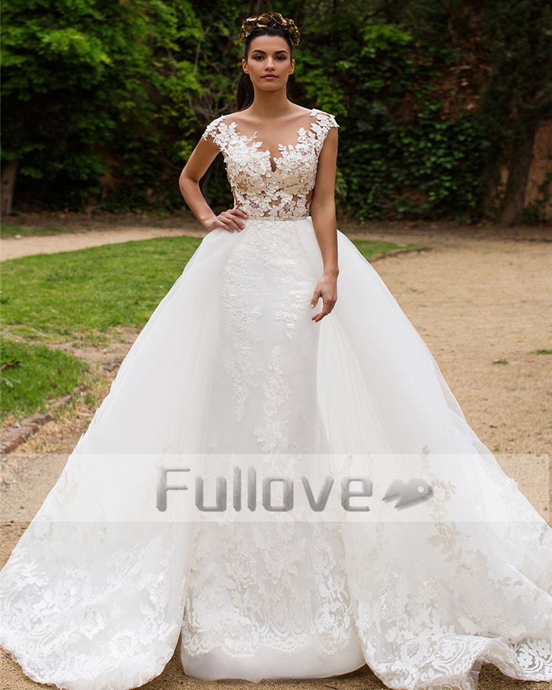 Aliexpresscom buy noble detachable train lace wedding for Robe de mariée dentelle dos