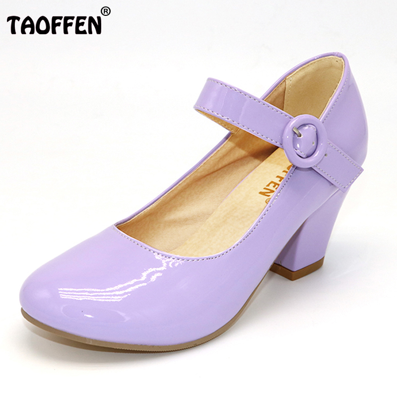 TAOFFEN Size 32 48 9 Colors Women High Heels shoes Round Toe Patent Leather Highs Shoes