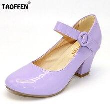 Taoffen/Размеры 32-48 9 Цвета женские высокий каблук обувь круглый носок Лакированная кожа максимумы женские туфли-лодочки наряд с ремешком на лодыжке обувь