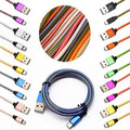 Free shipping 1m 2m 6FT 100pcs/lot Micro V8 Aluminum Alloy Usb data sync charger fabric braided cable for samsung s7 s6 s4