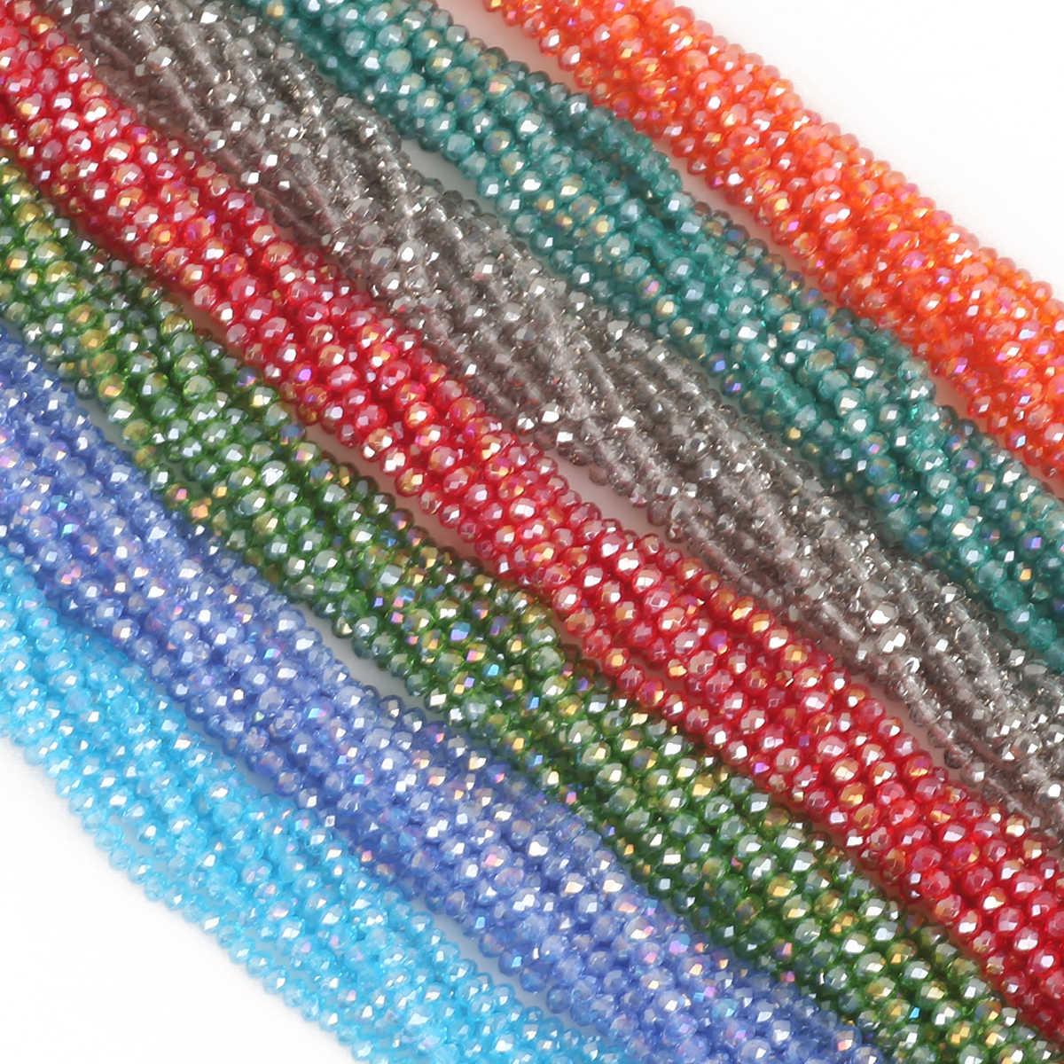 ピックサイズ 2 3 4 6 8 ミリメートルチェコロンデルクリスタルビーズジュエリー作成 Diy のため針仕事 AB 色スペーサーファセットガラスビーズ