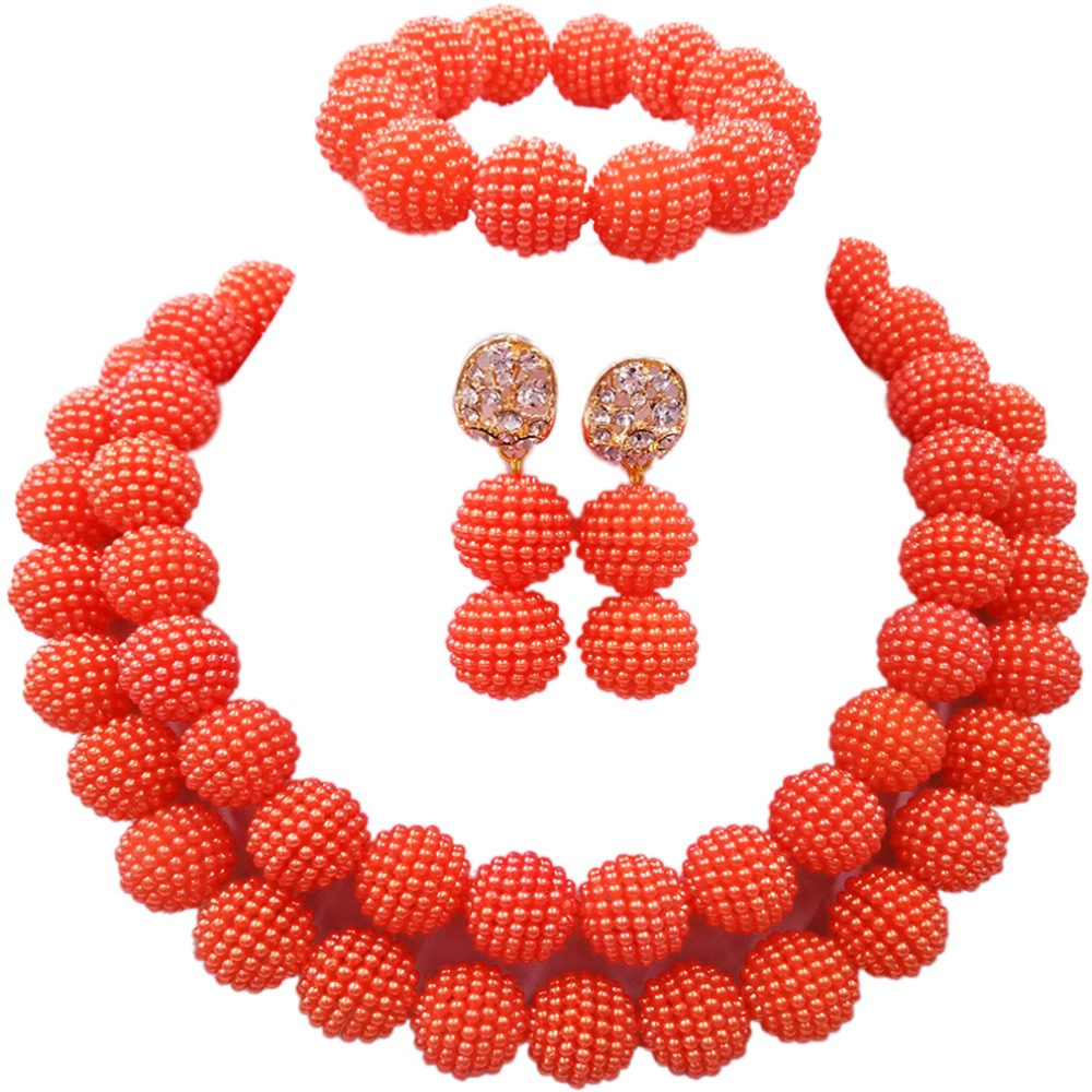 Jewelry-Sets Orange African Nigerian Wedding Women High-Quality Latest for 2C-ZZ-10 Handmade