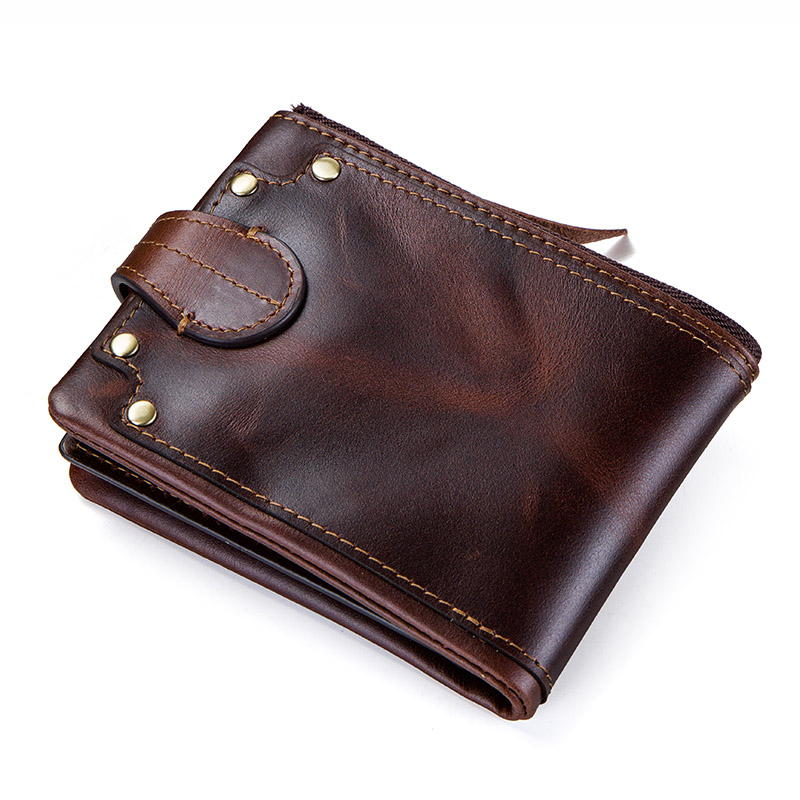 CONTACT'S crazy horse cowhide leather men wallets short men's purse card holder male carteira masculina zipper cartera hombre 1