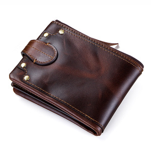 Image 2 - CONTACTS crazy horse cowhide leather men wallets short mens purse card holder male carteira masculina zipper cartera hombre