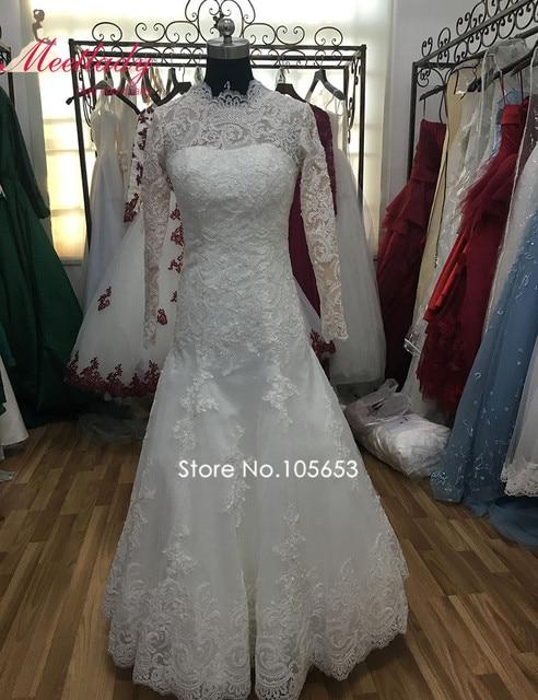 Vintage High Neck Long Sleeves Muslimischen Hochzeitskleid 2017 Echt ...
