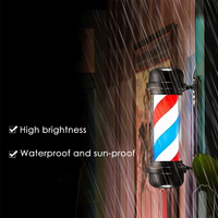 Red White Blue Stripe Rotating Light Stripes Sign Hair Wall Hanging LED Downlights 55cm Barber Shop Pole Rotating Lighting