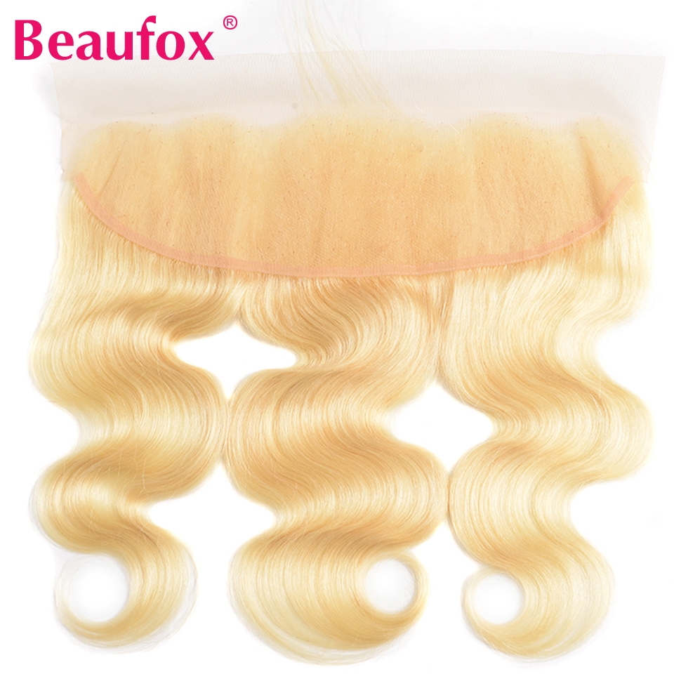 Beaufox 613 Human Hair Lace Frontal With Baby Hair Blonde Brazilian Body Wave Human Hair Lace Closure 13*4 Non Remy Free Part