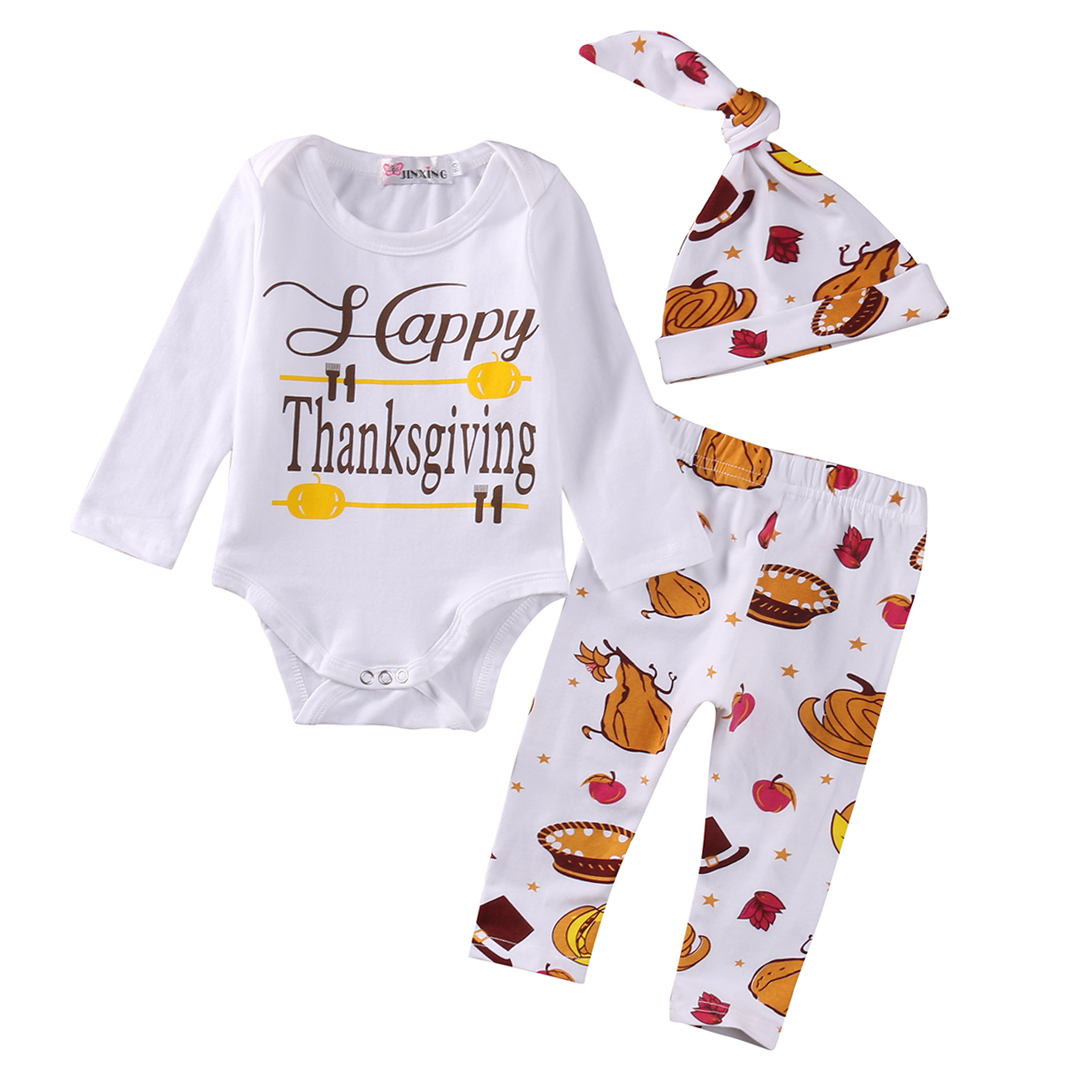 Thanksgiving Newborn Infant Baby Boys Girls Outfits Long Sleeves Romper+Pumpkin Pants+Hat Clothes Costume