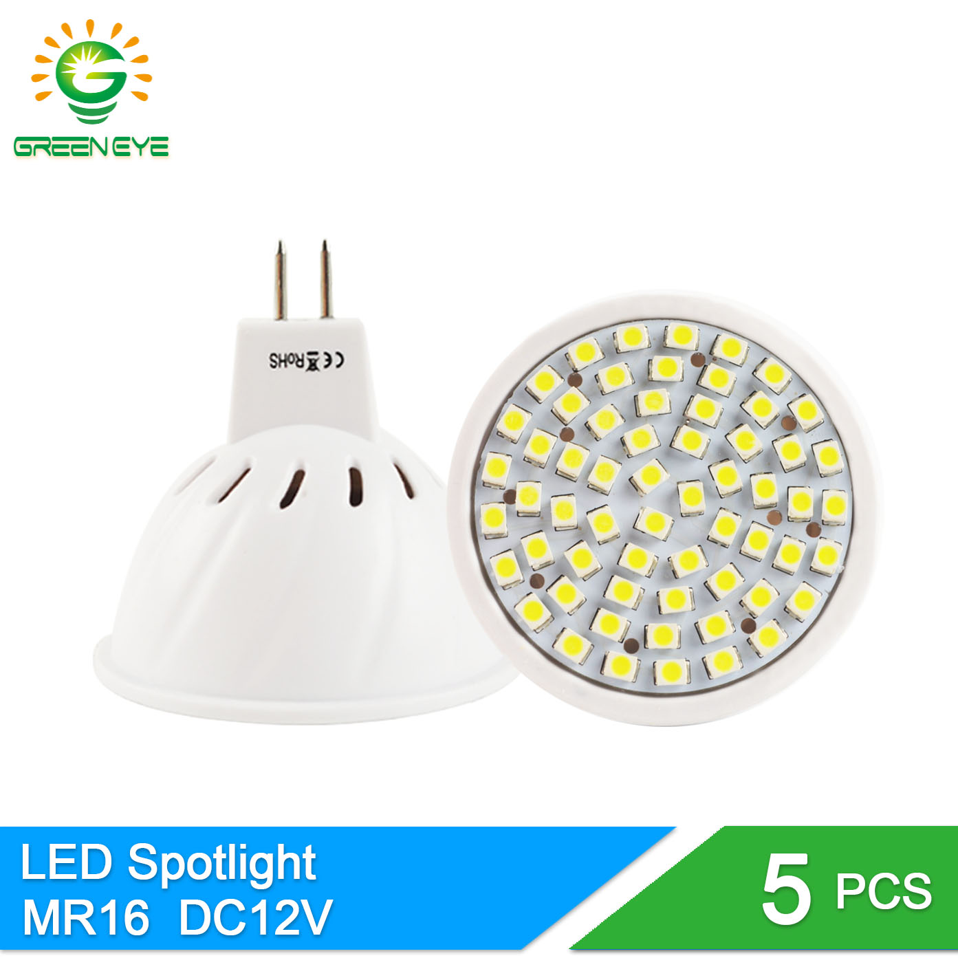 GreenEye 5Pcs High Bright MR16 220V DC 12V LED Lamp 6W 8W LED Spotlight Bombillas Spot Light Lampada LED Bulb Lampara Ampoule nouveau haute puissance lampada led mr16 cob 6 w 9 w 12 w dimmable led cob spotlight chaud blanc froid mr16 12 v ampoule