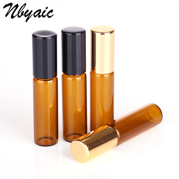 1ML 2ML 3ML 5ML 10ML Amber Roll On Roller Bottle for Essential Oils Refillable Perfume Bottle Deodorant Containers with Gold lid