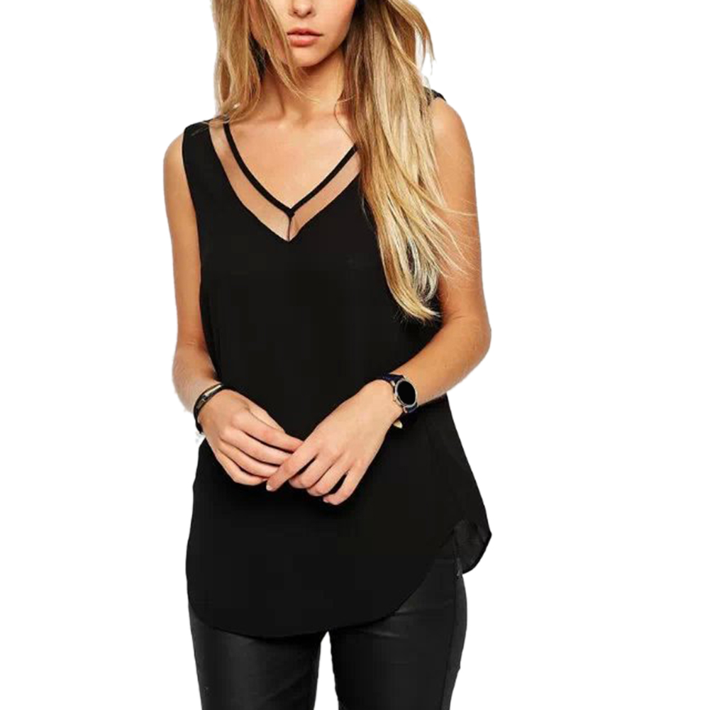 1pcs Tops Women Summer V Neck Chiffon Vest Sleeveless Casual Tank Blusas Tops Sheer Mesh Patchwork T Shirt Bottom Camisole