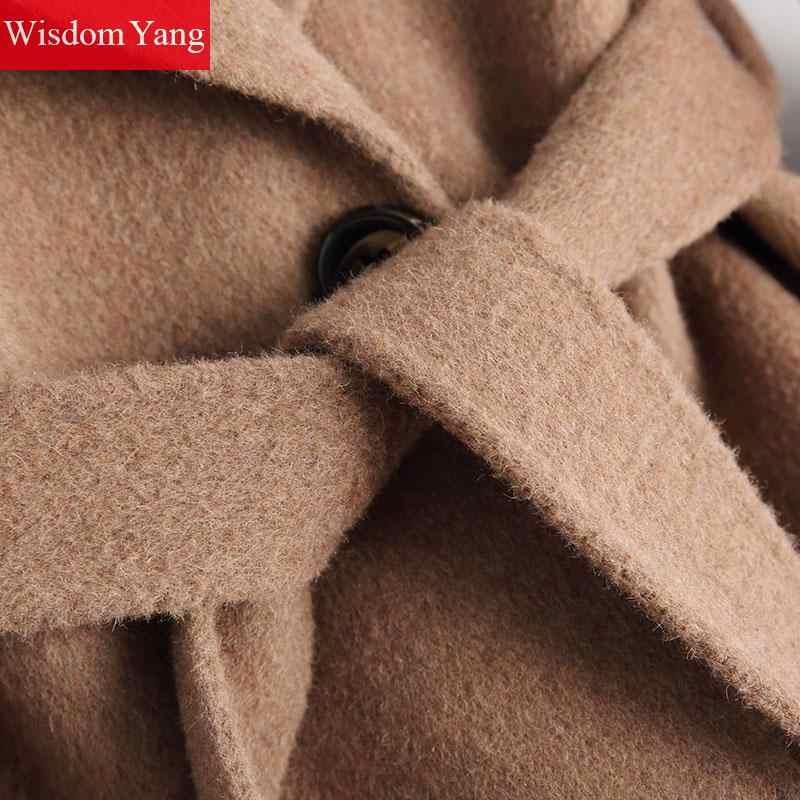Зимняя женская овечья шерсть альпаки кашемировое пальто Длинная бежевая верблюжья Верхняя одежда Тренч 2019 пояс винтажное шерстяное пальто шерстяные пальто