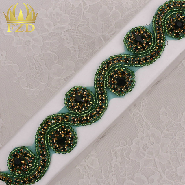 (10yards) Wholesale 1 Yard Sewing On Hot Fix Green Beaded Rhinestone  Applique and Trimming 193f3e67da3d