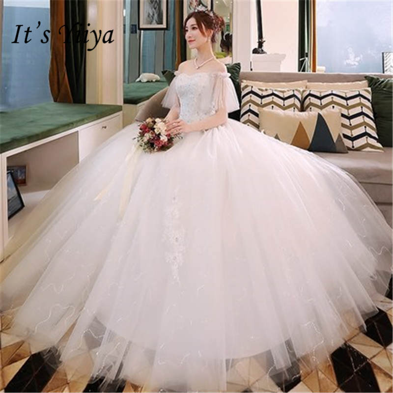 It's YiiYa Fashion Flare Sleeve Mesh White Wedding Dresses Elegant Strapless Wedding Gowns DV002