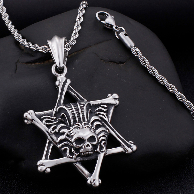 STAINLESS STEEL SKULL PENTAGRAM NECKLACE