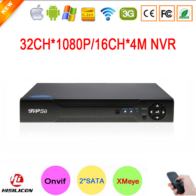 NEW!!! Hi3535 Chip Two SATA 32CH 1080P 2MP IP Camera Surveillance Video Recorder 16CH 4MP HD Digital Onvif NVR Free Shipping hikvision ds 7716ni i4 ds 7732ni i4 12mp 16ch 32ch nvr security surveillance digital video recorder onvif protocol 4 hdd ports