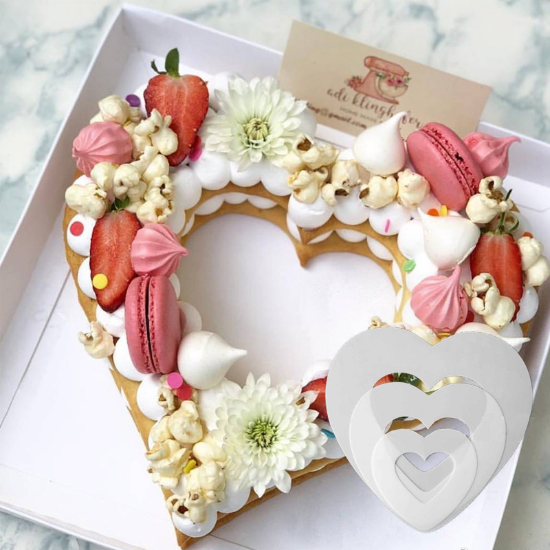 Heart Shape PET Plastic Cake Mold Decorating Tools Confeitaria Maker Useful Baking Accessories 6/8/10/12/14inch