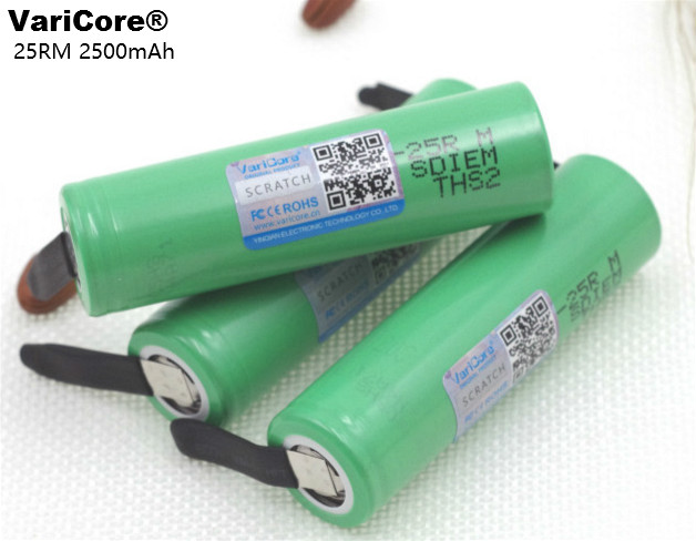 4PCS VariCore <font><b>18650</b></font> <font><b>25R</b></font> 2500mAh lithium battery 20A continuous discharge power electronic battery for <font><b>Samsung</b></font>+DIY Nickel sheets image