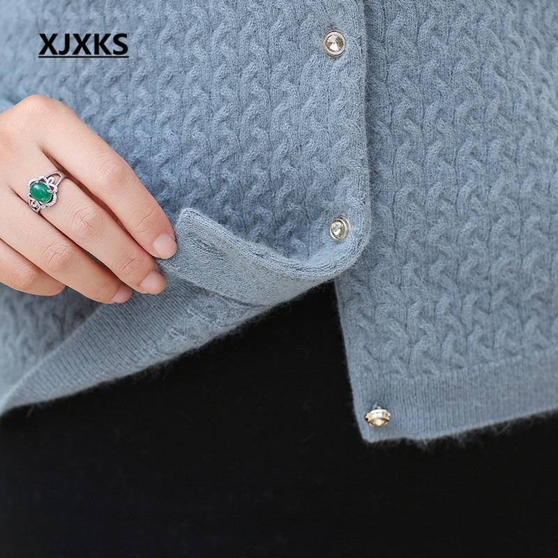Xjxks 2018 En Cachemire Et Hiver fin Automne cou caramel Mélange Femmes rouge Nouvelle V Haute Cardigan La Velours Mode Lapin vert Bleu Chandail A54LjR