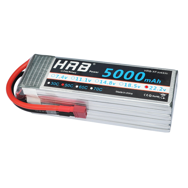 HRB Agiln 7.2 Battery 22.2V 5000mAh 50C Max 100C 6S RC LiPo Battery For Helicopter Quadcopter AKKU DJI Drone Yak 54