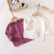 Новое поступление, хлопковый модный вязаный кардиган, свитер, пальто, милое пальто для маленьких девочек, LZ045