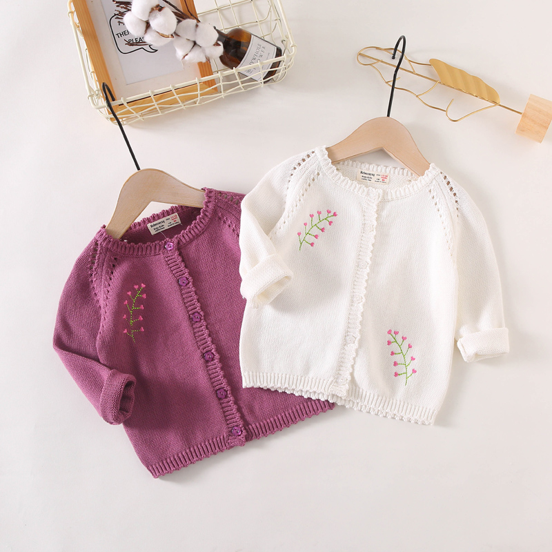 2019 New Arrival Cotton Fashion All-Match Knitted Cardigan Sweater Coat Cute Sweet Baby Girls LZ045