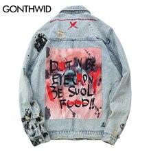GONTHWID hommes Graffiti Denim vestes Streetwear 2019 Hip Hop décontracté Patchwork déchiré en détresse Punk Rock Jeans manteaux Outwear