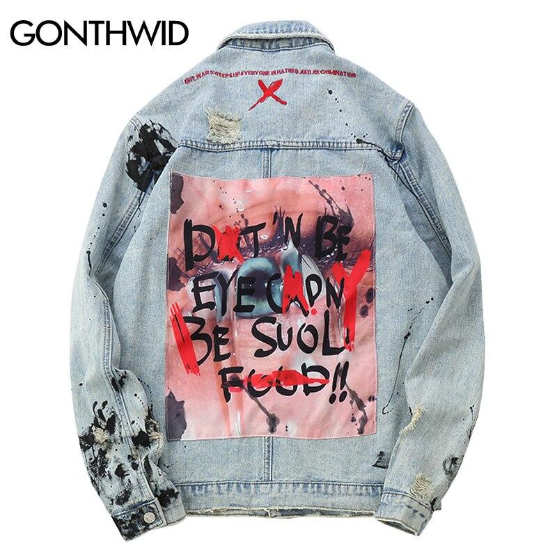 Gonthwid mens graffiti 데님 자켓 streetwear 2019 힙합 캐주얼 패치 워크 찢어진 고민 된 펑크 록 청바지 코트 outwear-에서재킷부터 남성 의류 의  그룹 1