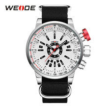 WEIDE casual business sport model model led analog dual display movement alloy case nylon strap band quartz wristwatch for man(China)