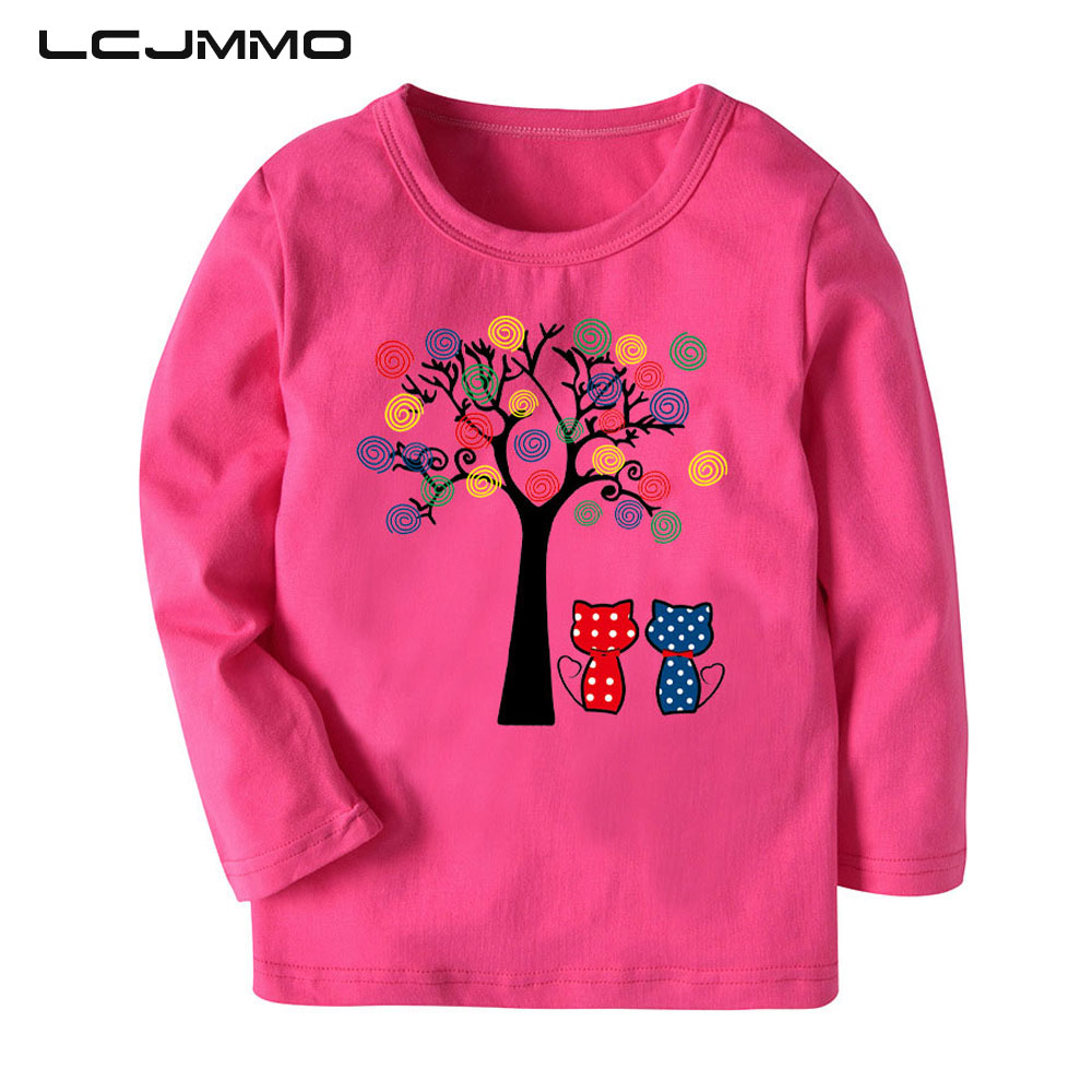 LCJMMO Autumn 100% Cotton 7 Colors Girls Long Sleeve Tshirts Baby Girl Tops Casual Cartoon Kids T-shirts For Girl Clothes 2-8Y
