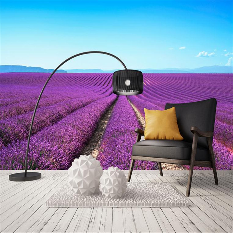 цены custom 3d high quality modern photo wallpaper bedroom living room large background wall mural romantic purple avender wallpaper