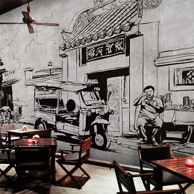 Gratis pengiriman tiga dimensi pola bata wallpaper retro for Mural hitam putih