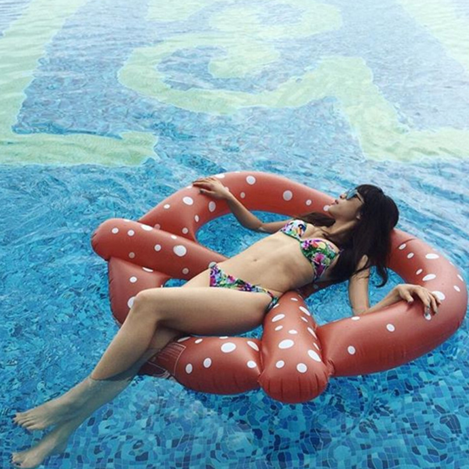 Inflatable Pretzel Pool Floats Inflatable Air Mattress Swim Ring Buoy Kickboard Water Boat Inflatable Donut Pool Swimming Floats