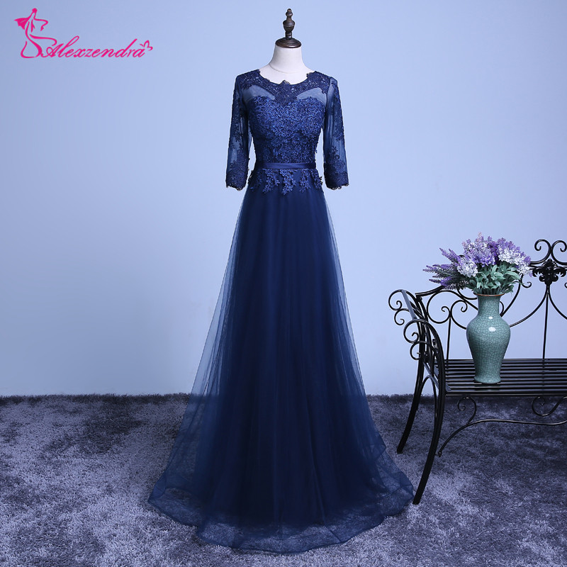 Alexzendra Navy Blue Tulle A Line   Prom     Dresses   2018 Long Appliqued Scoop Neck Formal Evening   Dress   Party   Dresses