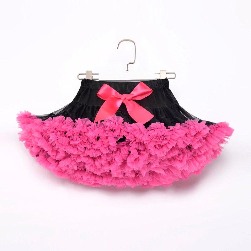 Черная ярко-розовая юбка для детей, юбка-пачка для девочек, юбка для маленьких девочек, праздничная юбка