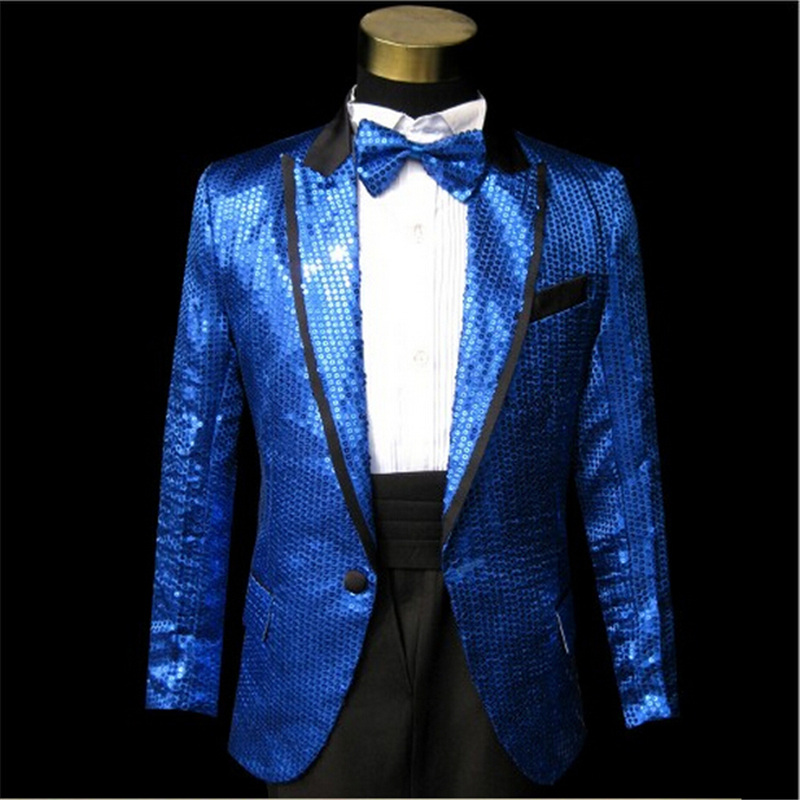 Paillette Fashion Stage Costume Polyester Fabric Singer Clothing Dj Show Best Performance Clothes 5 Colors Dh 027 In Suit Jackets From Men S